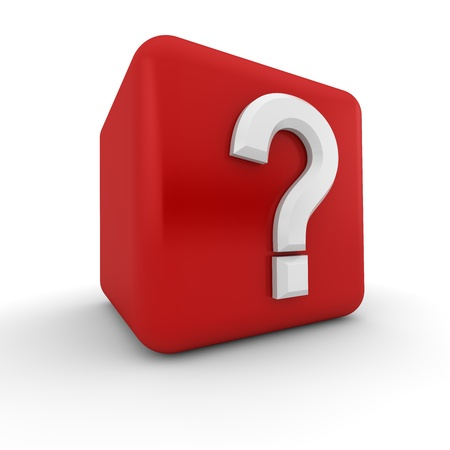 linguistics: Red 3d block with a white question mark Stock Photo