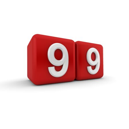 numeracy: A red 3D block with white number nine