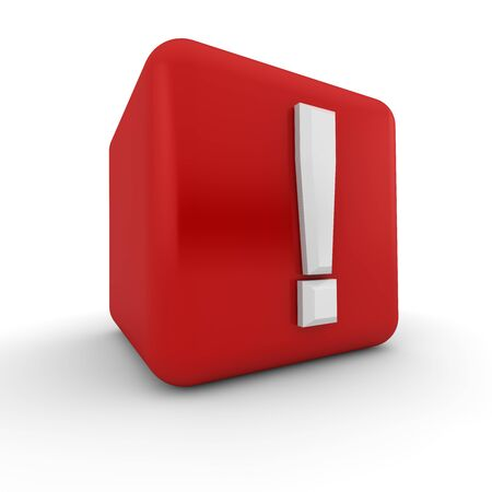 interjection: A red 3D block with a white exclamation mark