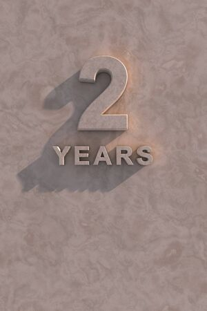 2 years 3d text with shadow and copy space photo
