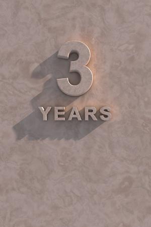 3 anni di testo 3d con ombra e copia spazio Archivio Fotografico