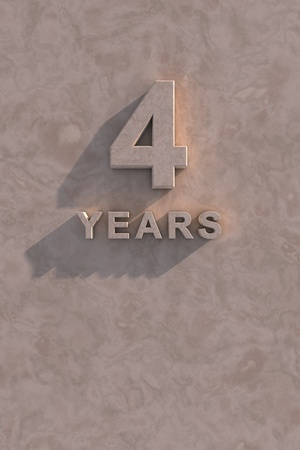 4 years 3d text with shadow and copy space photo