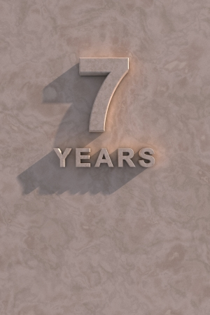 seven years: 7 years 3d text with shadow and copy space
