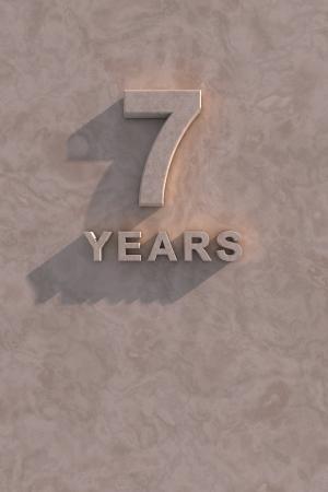 sept: Texte 7 ans 3d d'ombre et de l'espace de copie