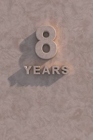 8 years 3d text with shadow and copy space Stock Photo - 13499924