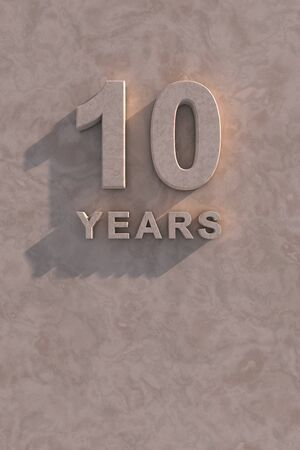 number ten: 10 years 3d text with shadow and copy space