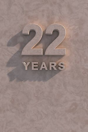 22 years 3d text with shadow and copy space photo