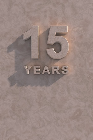 15 years 3d text with shadow and copy space photo