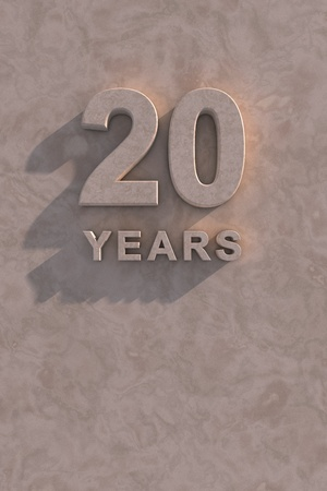 twentieth: 20 years 3d text with shadow and copy space