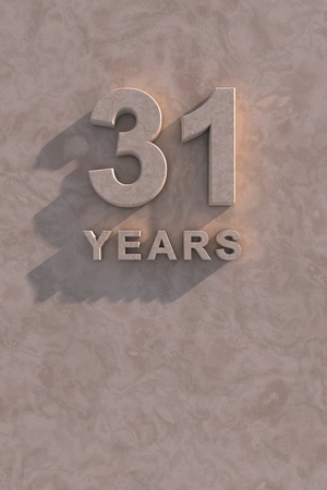 31 years 3d text with shadow and copy space photo