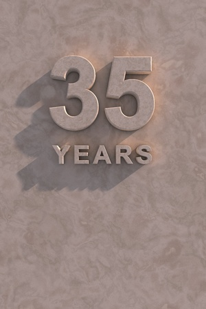 anniversary backgrounds: 35 years 3d text with shadow and copy space