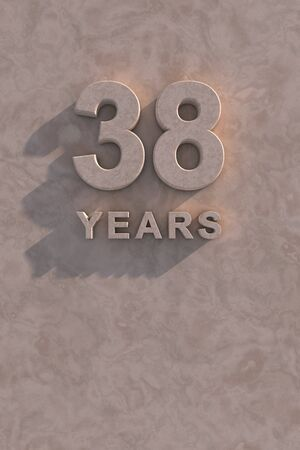 38: 38 years 3d text with shadow and copy space Stock Photo