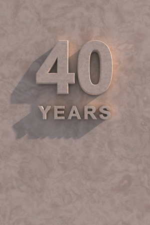 time of year: 40 years 3d text with shadow and copy space