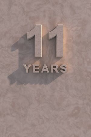 eleven: 11 years 3d text with shadow and copy space Stock Photo