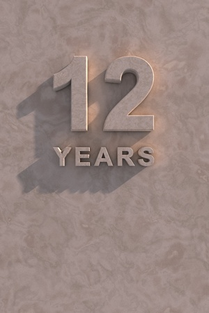 12 years 3d text with shadow and copy space photo
