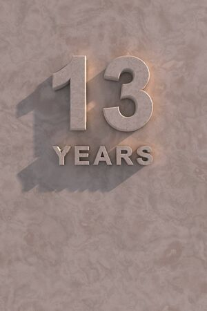 13 years 3d text with shadow and copy space photo