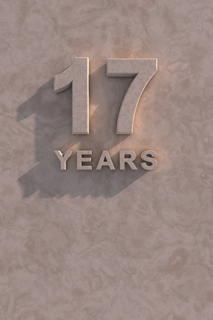 17 years: 17 years 3d text with shadow and copy space Stock Photo