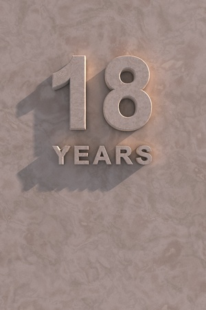 18 years 3d text with shadow and copy space