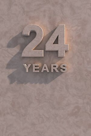 24 years 3d text with shadow and copy space photo