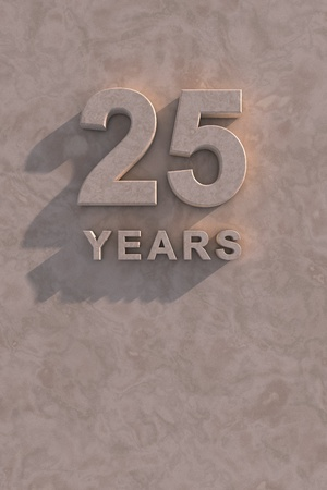 25 years 3d text with shadow and copy space photo