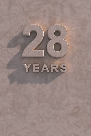 28 years 3d text with shadow and copy space photo
