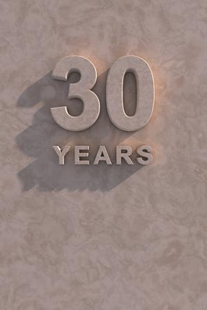 30 años de texto en 3D con sombra y espacio de la copia Foto de archivo - 13500042