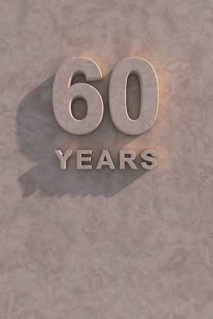 time of the year: 60 years 3d text with shadow and copy space