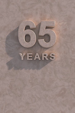 65 years 3d text with shadow and copy space photo