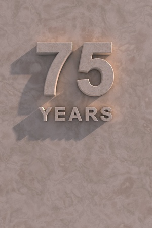 75 years 3d text with shadow and copy space photo