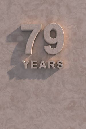 79 years 3d text with shadow and copy space photo
