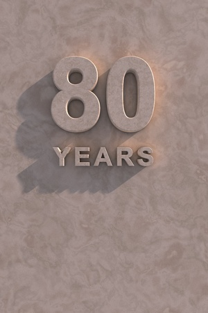 octogenarian: 80 years 3d text with shadow and copy space Stock Photo