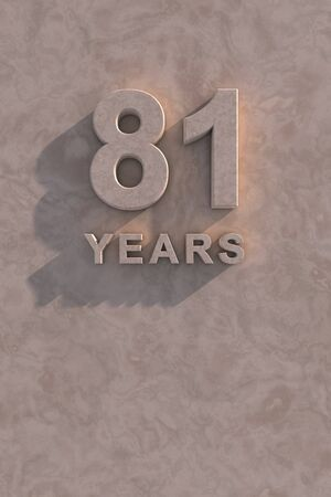 octogenarian: 81 years 3d text with shadow and copy space
