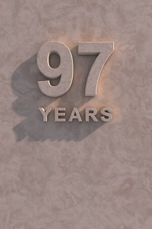 97 years 3d text with shadow and copy space photo