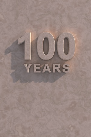 100 years 3d text with shadow and copy space photo