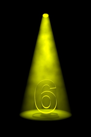 6th: Number 6 illuminated with yellow spotlight on black background