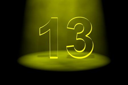 13: Number 13 illuminated with yellow light on black background