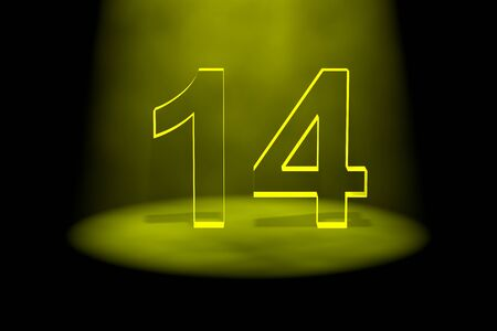 number 14: Number 14 illuminated with yellow light on black background Stock Photo
