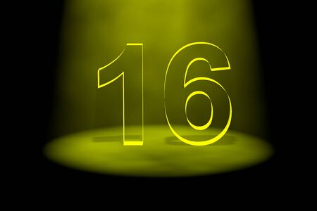 number 16: Number 16 illuminated with yellow light on black background