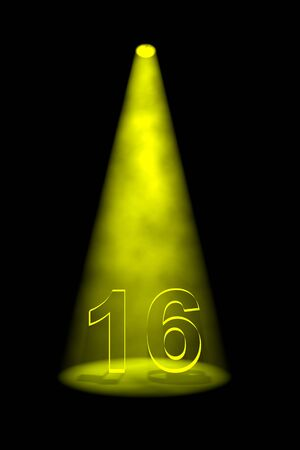 number 16: Number 16 illuminated with yellow spotlight on black background