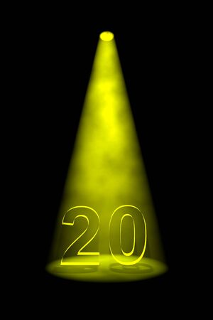 limelight: Number 20 illuminated with yellow spotlight on black background