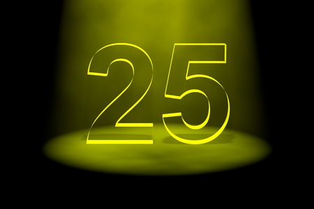 spotlit: Number 25 illuminated with yellow light on black background