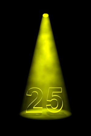 limelight: Number 25 illuminated with yellow spotlight on black background