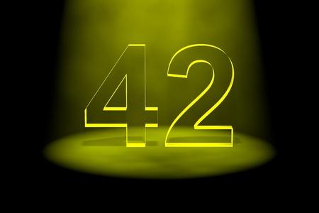 검은 색 바탕에 노란 빛으로 조명 수 42 스톡 콘텐츠