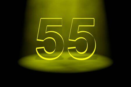spotlit: Number 55 illuminated with yellow light on black background