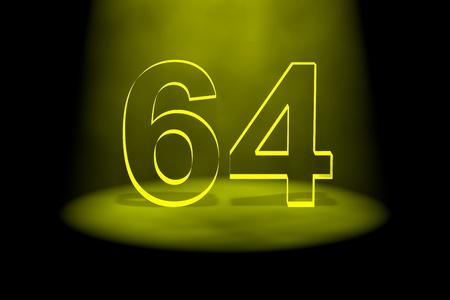spotlit: Number 64 illuminated with yellow light on black background Stock Photo