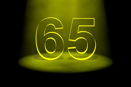 65th: Number 65 illuminated with yellow light on black background