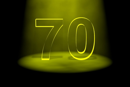 seventieth: Number 70 illuminated with yellow light on black background