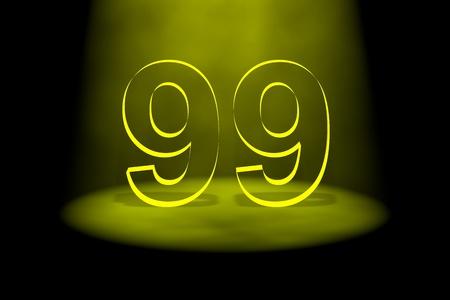 99: Number 99 illuminated with yellow light on black background