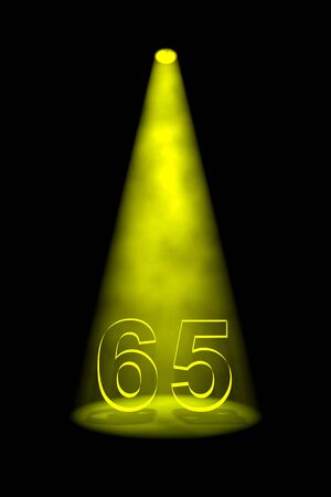 65th: Number 65 illuminated with yellow spotlight on black background