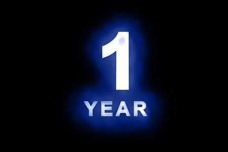 1 year anniversary: 1 Year in glowing white numbers and text with a mottled patterning on blue background suitable for a birthday, celebration or anniversary Stock Photo